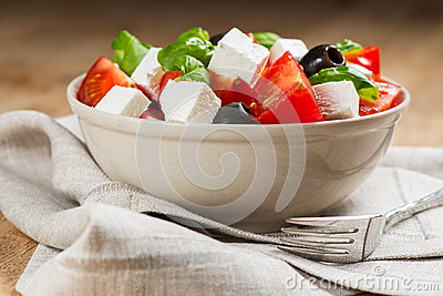 Greek salad in bowl