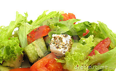 Greek salad with feta cheese, olives and fresh veg