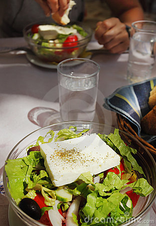 Greek salad with fresh feta cheese