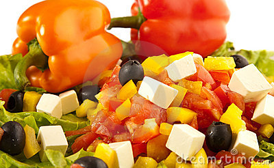 Greek salad with peppers closeups
