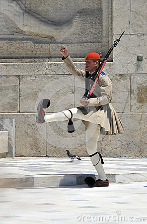 Greek soldier marching Editorial Photo