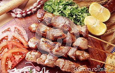 Greek Souvlaki skewers and salad