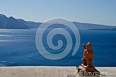 Greek statue in Santorini