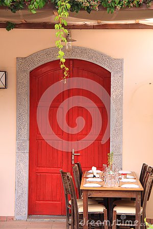 Greek tavern restaurant table