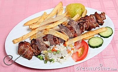 Greek taverna lamb souvlaki kebab