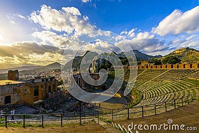 Greek theatre in Taormina at sunset