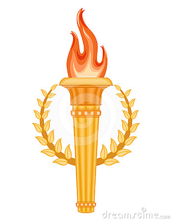 Greek Torch with crown of laurels