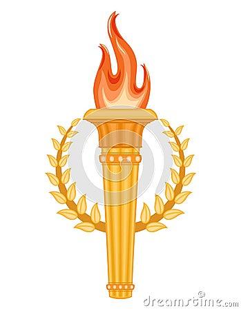 Greek Torch with crown of laurels