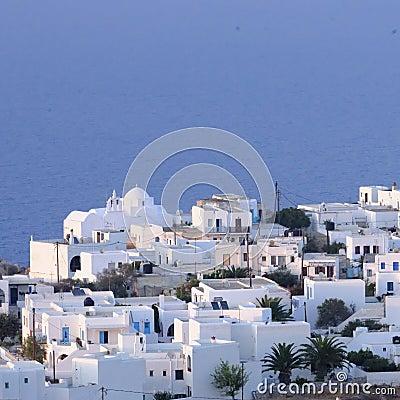 Greek town by blue sea