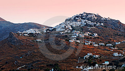 Greek town on mountainside