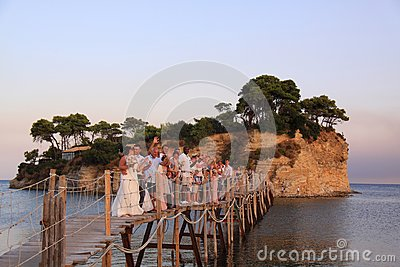 Greek wedding on the bridge to Cameo Island, zakynthos, greece