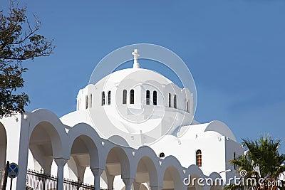 Greek white church on the island of Santorini