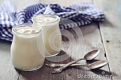 Greek yogurt in a glass jars