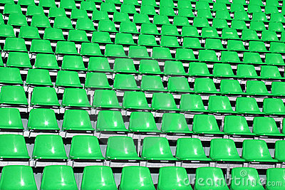 Greem seats in a Sports Venue without people