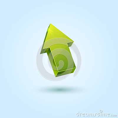Green 3d arrow symbol isolated on blue background
