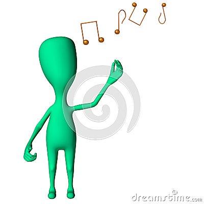 Green 3d puppet strange shape mimicking singing