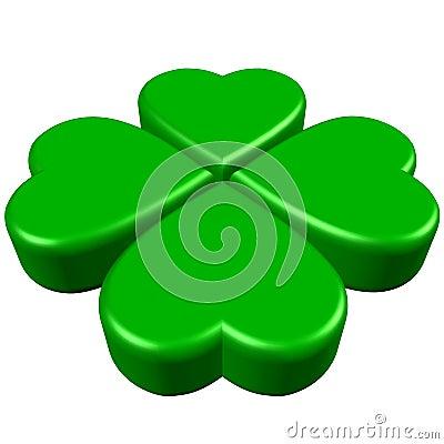 Green 4 leaves clover