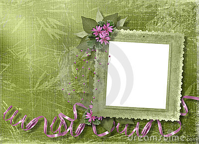 Green abstract background with beautiful bouque