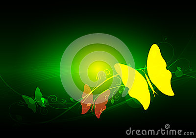 Green abstract and butterfly