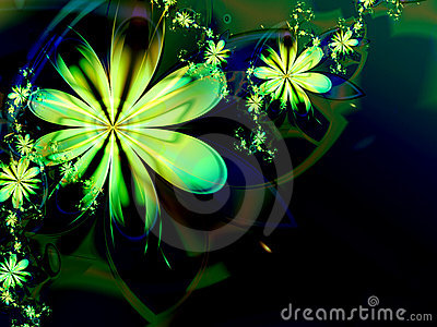Green Abstract Flower Fractal Dark Background