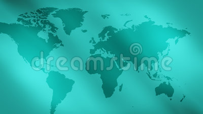 Green abstract lights background and world map. World map and motion abstract background shot in RAW 4K