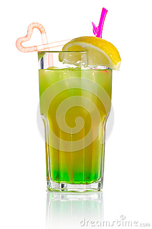 Green alcohol cocktail with lemon slice isolated