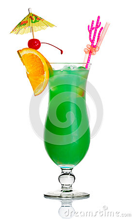 Green alcohol cocktail with orange slice isolated
