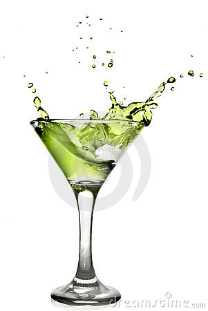 Green alcohol cocktail with splash