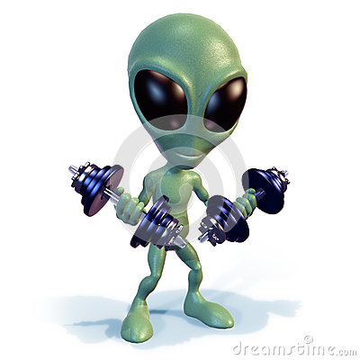 Green alien lifting weights
