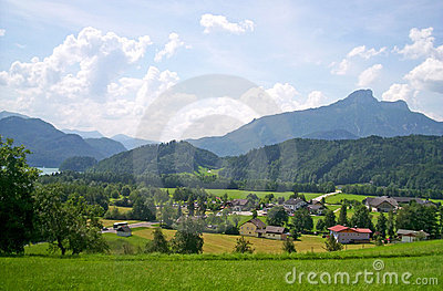 Green alps mountain landscape, daylight travel,