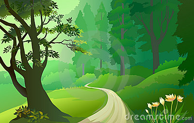 Green Amazon forest with lonely pathway