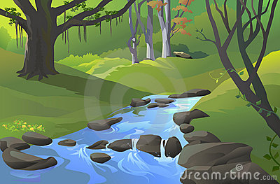 Green Amazon forest with a stream