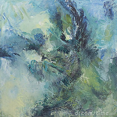 Free Green And Blue Abstract Expressionist Painting Royalty Free Stock Photos - 14495258