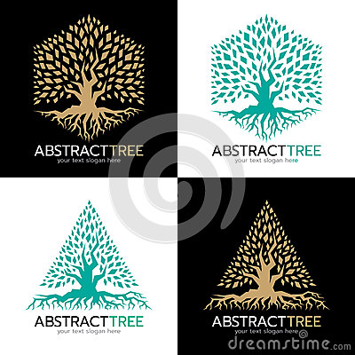 Free Green And Gold Hexagonal And Triangle Abstract Tree Logo Vector Art Design Stock Images - 89885444