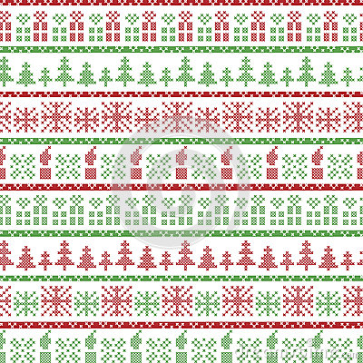 Free Green And Red Christmas Nordic Pattern In Including  Xmas Gifts, Candles, Snowflakes, Stars, Decorative Ornaments In Scandinavian Stock Photography - 59130252