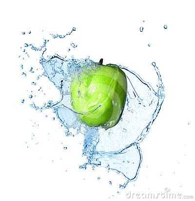 Green apple with big splash of the water