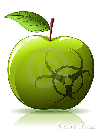 Green apple with biohazard sing