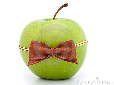 Green apple with bow-tie