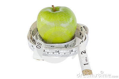 Green apple circled with a tape measure