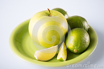 Green apple in green bowl
