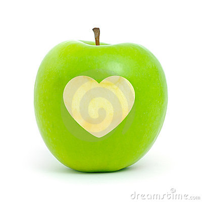 Green apple with a heart symbol