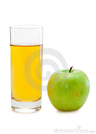 Green apple with juice