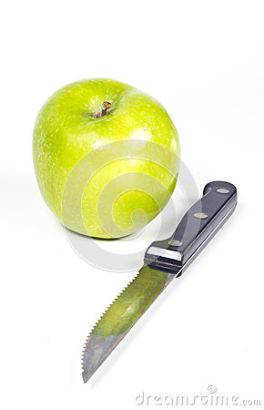 Green apple and knife