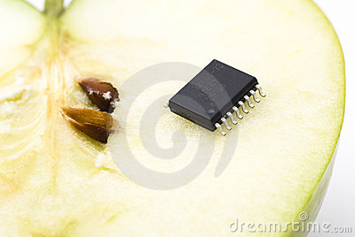 Green apple with microchip