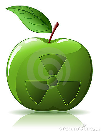 Green apple with nuclear  sing