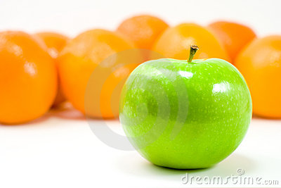 A Green Apple and Oranges