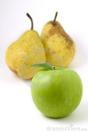Green apple and pears