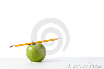 Green apple with Pencil
