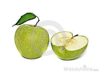 Green apple and section