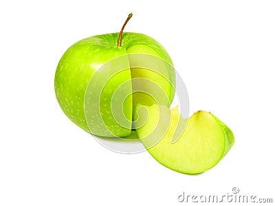 Green apple with segment